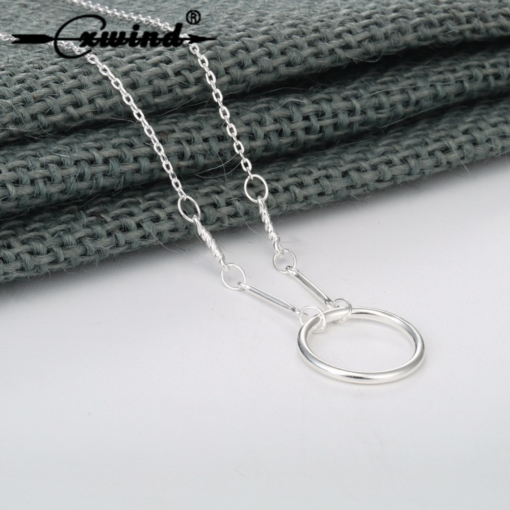 Cxwind Smooth Forever Circle Pendant Necklaces 925 Silver Jewelry for Women Charm Chain Geometric Karma Rounds Choker Necklace
