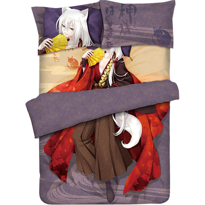аниме поцелуй в кровати - Anime Kamisama Love Kamisama Kiss Tomoe  Bed Sheet or Duvet Cover sets with Two Pillow cases bedding Linen