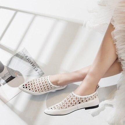 Femmes Peu Dames Doux Creux Respirant Chaussures Mocassins Sur on Véritable Plat Casual D'été 2018 Slip 2 Profonde 1 pBxzrpwq