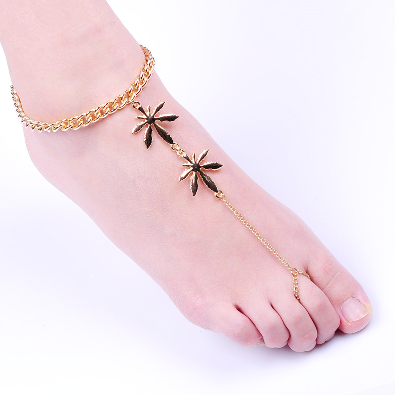 2017 new fashion font b jewelry b font Gold Maple toe sandals Anklet