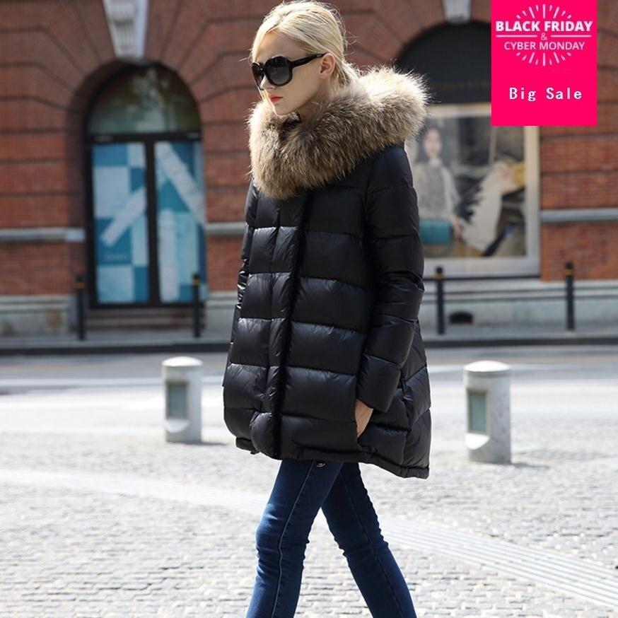 Versión coreana de invierno con Cuello de piel de rael grande con capucha chaqueta de plumón de pato señora largo más grueso estilo de murciélago cálido abrigo wj1542