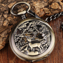 Bronze Deer Flowers Case Mechanical Pocket Watch Men Retro Big Dial Hand Wind Skeleton Steampunk Reloj de bolsillo Cadena