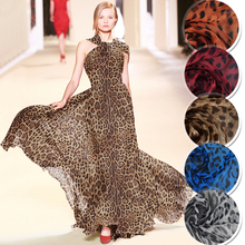1 meter printed chiffon fabric for sewing pure Mulberry silk fabrics width 51 inches tissu cloth leopard print DIY 1825 1 meter printed chiffon fabric for sewing pure 6 momme mulberry silk cloth width 53 inches dandelion cloth 1808