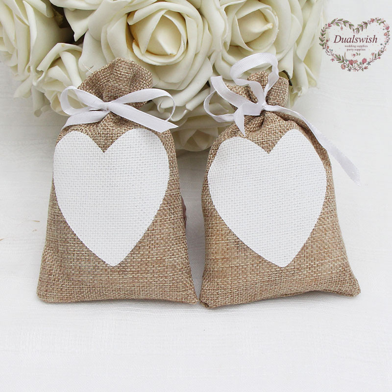 Vintage Wedding Gifts: Dualswish 50pcs Heart Vintage Natural Burlap Gift Candy