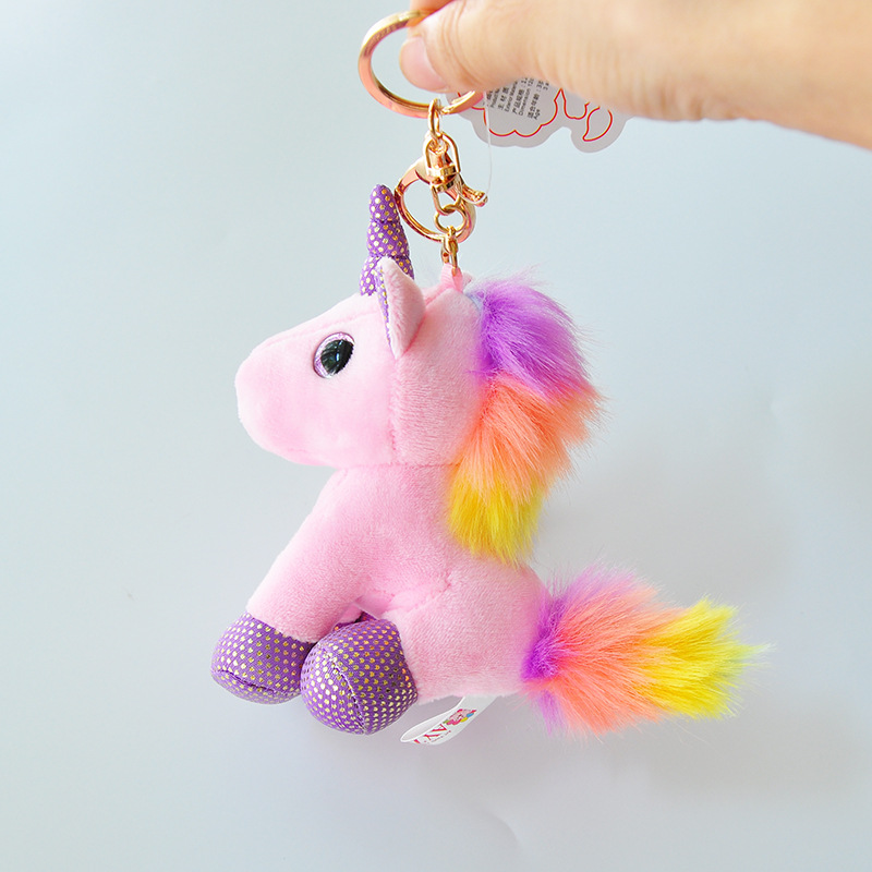 SAILEROAD Cute Little 9cm Approx Unicorn Plush Toys For Christmas Keychain Unicorn Plush Doll Toy Kids Gift Small Pendant Chain