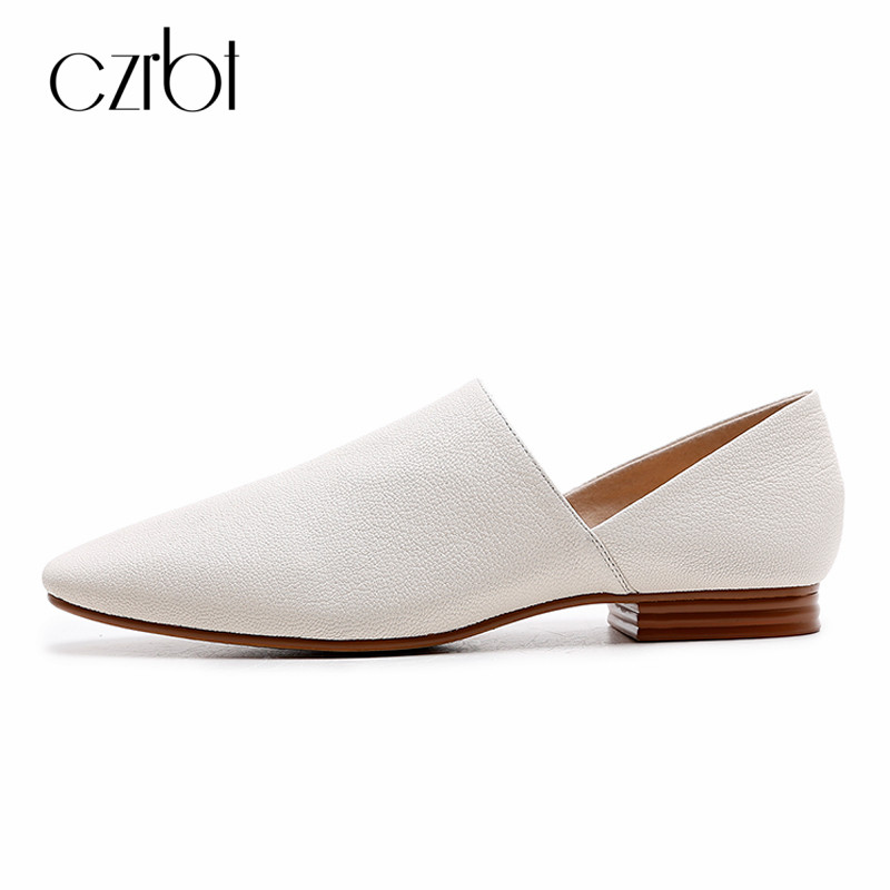CZRBT Handmade Women Loafers Shoes Casual Spring Autumn Shoes Women Genuine Leather Flats Ladies Big Size Slip On Light Shoes