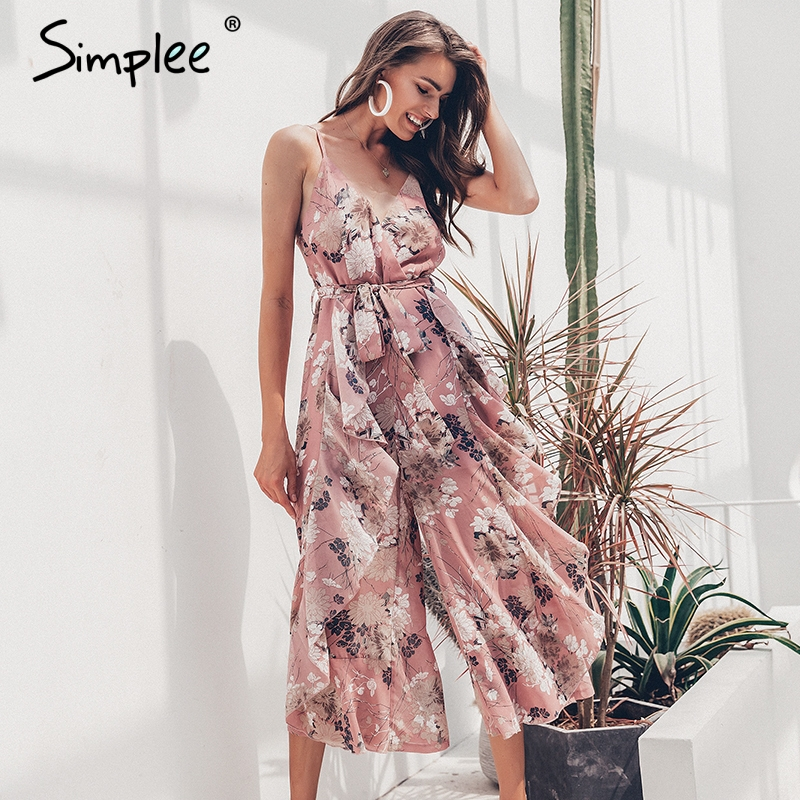 Simplee Bohemian Floral Print Women Jumpsuit Sexy V-neck Spaghetti Strap Sashes Jumpsuit Romper Elegant Ruffled Female Overalls