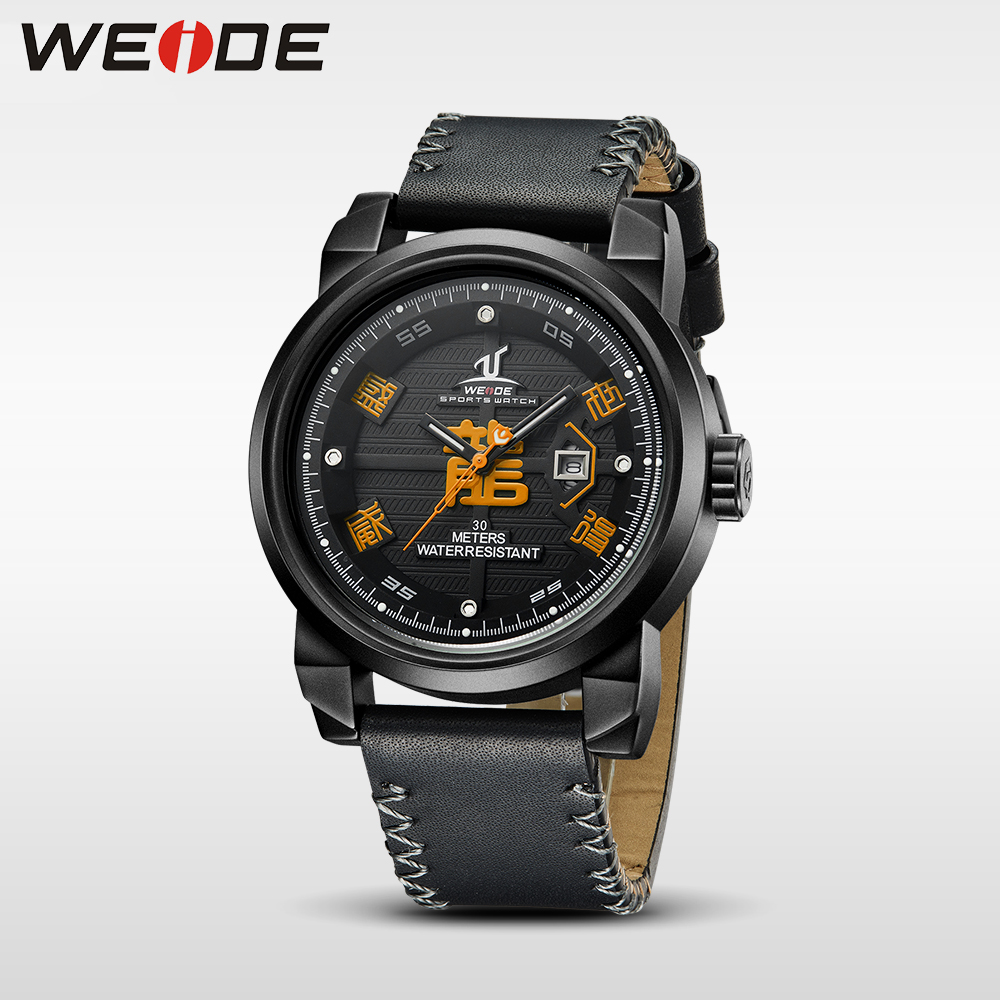 WEIDE New luxury brand Sport Quartz analog Watch Men Water Resistant Genuine Leather Strap relogio masculino black military 1509 weide casual genuine luxury brand quartz sport relogio digital masculino watch stainless steel analog men automatic alarm clock