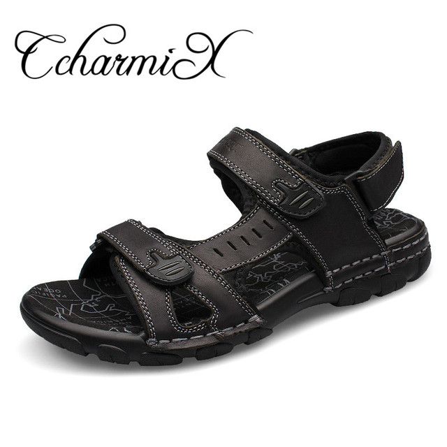 Ccharmix Большие размеры 38–46 Мужские сандалии из натуральной кожи новые летние прогулки Сандалии для девочек для человека модного бренда открытый мужской повседневная обувь