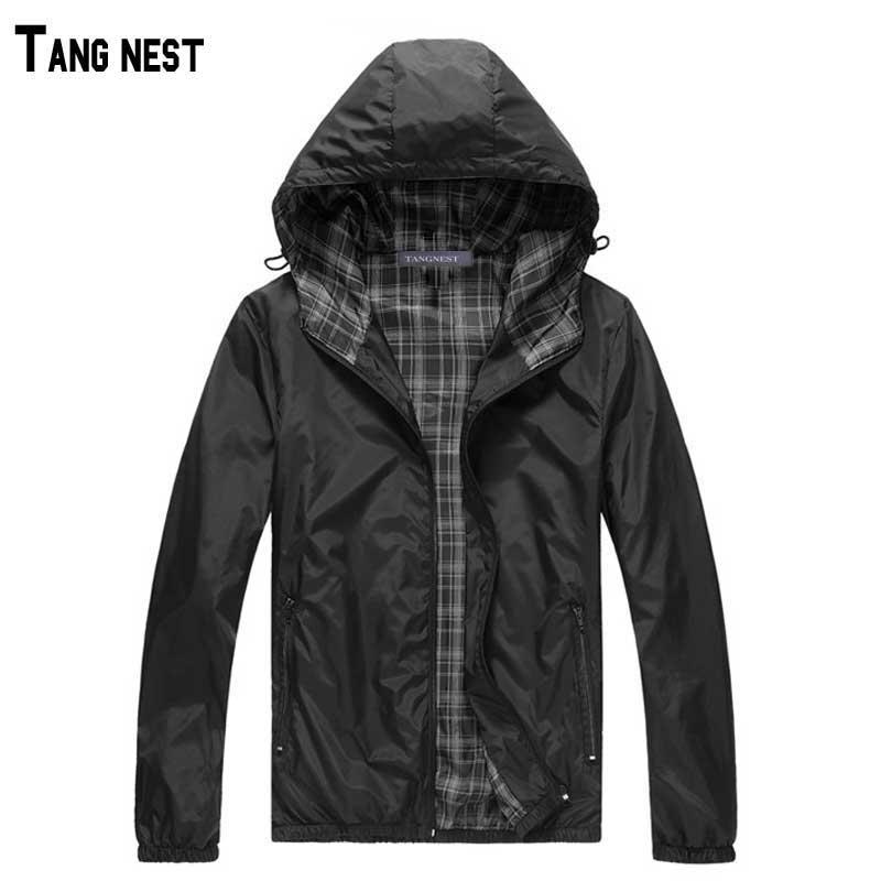 TANGNEST Men Jackets 2017 New Hot Sale Man Hooded Thin Jackets Male Hoodie Thin Windbreaker Lightweight