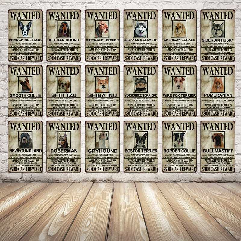 [Kelly66] نيوفاوندلاند الكلاب Wanied المعادن علامة القصدير المشارك ديكور المنزل بار جدار الفن اللوحة 20*30 CM حجم y-2092