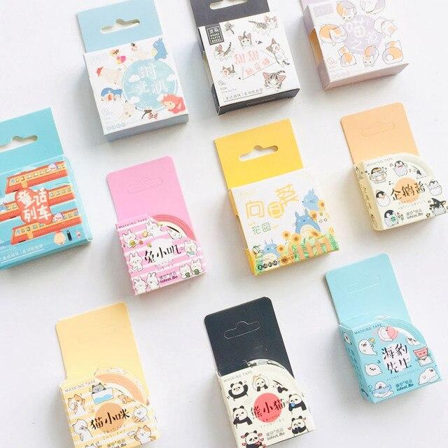 1 Roll 1.5cm*7M Cute Animals Penguin Cat Panda Otter Rabbit Masking Washi Tape Album Scrapbooking Decor Stick Label 2
