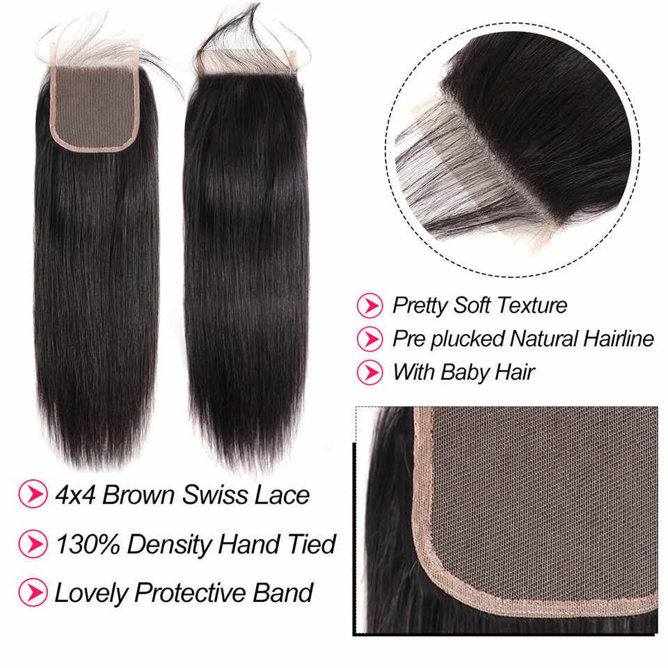 Beaufox Human Hair Bundles With Closure Brazilian Straight Hair Bundles With Closure Remy Hair 3 Bundles With Closure
