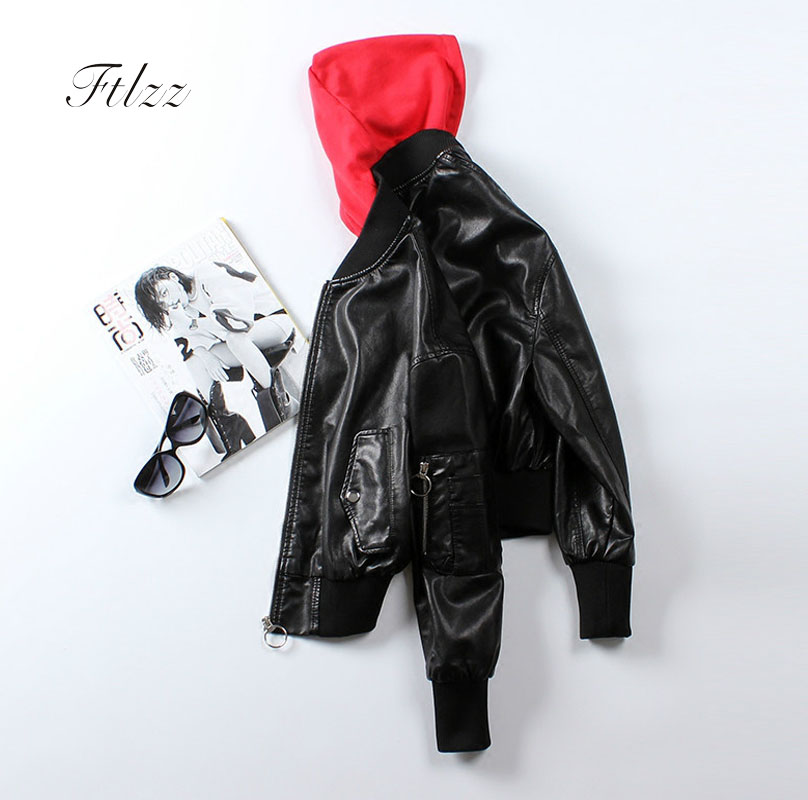 Ladies'   Leather   Jackets 2018 New Spring Autumn Bikers Short Coats Women Causal Long Sleeved Hooded Red Faux   Leather   Jcakets