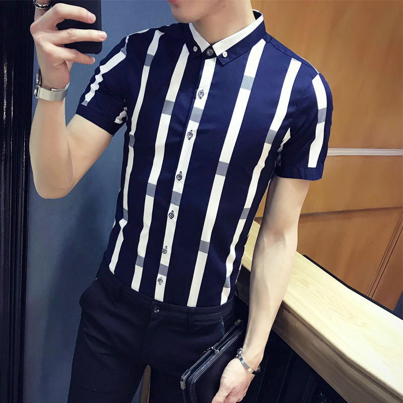 7842bad00a38 Summer New Youth Fashion Stripe Short Sleeve Shirt Men's Korean Slim Half Sleeve  Shirt Leisure Shirt Men