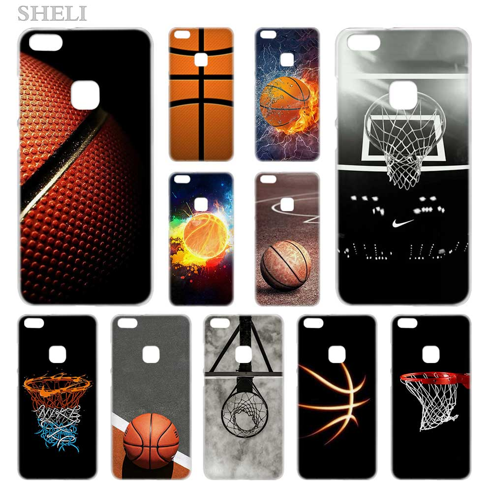 SHELI Basketball dark Transparent Hard Phone <font><b>case</b></font> cover for <font><b>Huawei</b></font> P8 P9 <font><b>P10</b></font> P20 Lite 2017 Plus Pro Mate 10 image