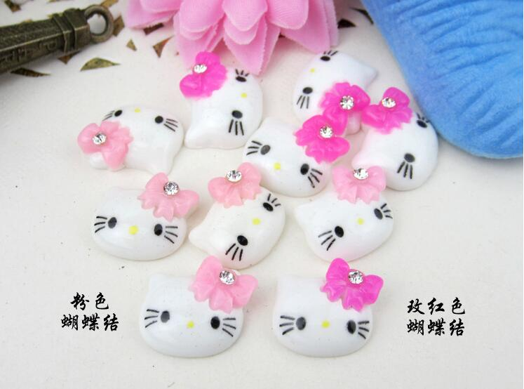 50 pieces big cute glitter kawaii kitty head kitten cat Cabochon Cabs 10 mm Resin with pink bow