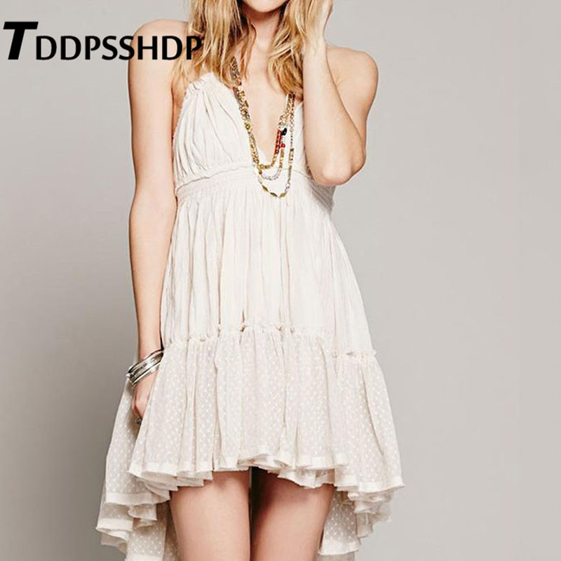 Lace Patchwork Deep V Neck Backless Women Dress Halter Ruffles Sexy Vacation Female Dresses