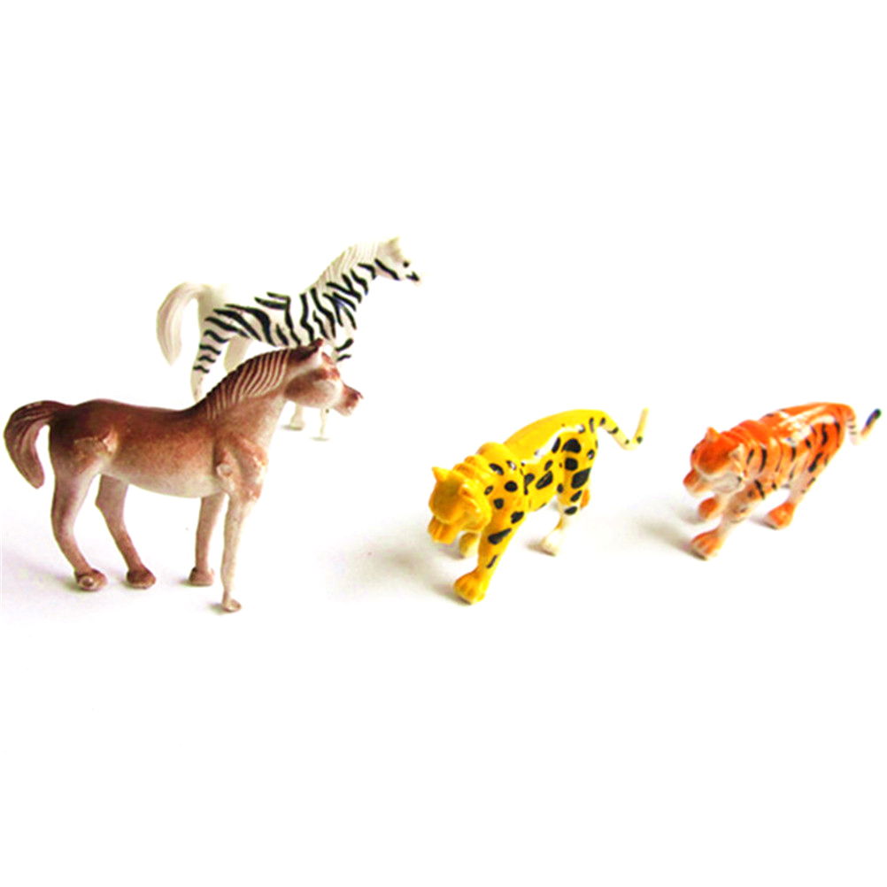 4pcs Lovely Animal Models Plastic Zoo Animal Figure Tiger Lion Zebra Action Toys Gift