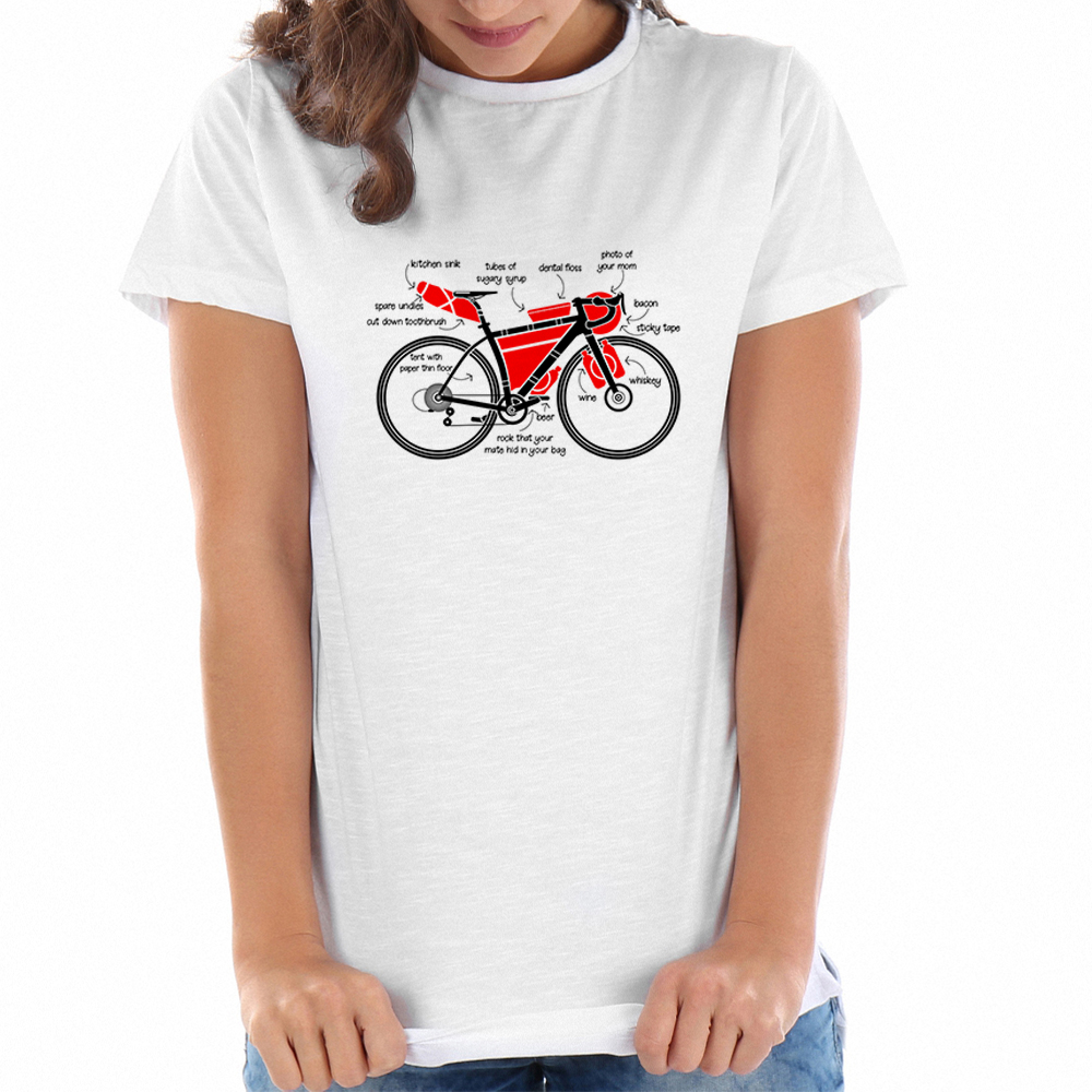 2018 Harajuku Bicycle T Shirts Women Aesthetic Cotton T-shirt White Basic Tee Shirts Ladies Punk Cute Top