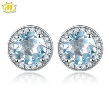Hutang круглые серьги сделаны с 1.88ct натуральный драгоценный камень Небесно голубой топаз Твердые 925 пробы серебряные ювелирные изделия для женщин подарок
