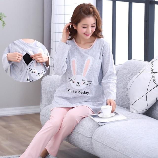 22f4ba5da7 Breastfeeding pajama breast feeding nightwear maternity nursing pajamas set  maternity nursing sleepwear pregnancy pyjamas autumn
