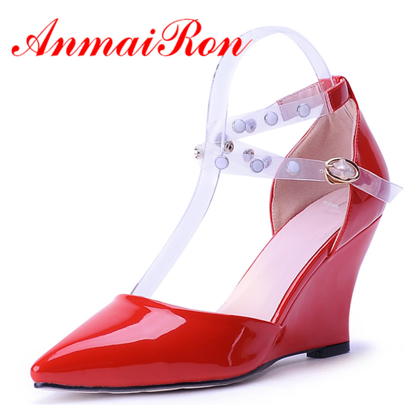 ФОТО ANMAIRON Fashion Wedding Party Wedges Sandals 3 Colors Sexy Shoes Pointed Toe High-heeled Wedges Pumps Sandals Woman Size 34-39