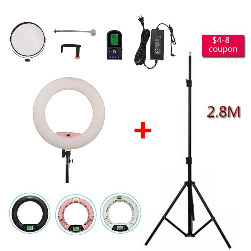 Yidoblo Pink FE-480II Studio 5600K Dimmable Camera Ring Light 480 LED Video Light Lamp LCD display Photographic Lighting +Tripod