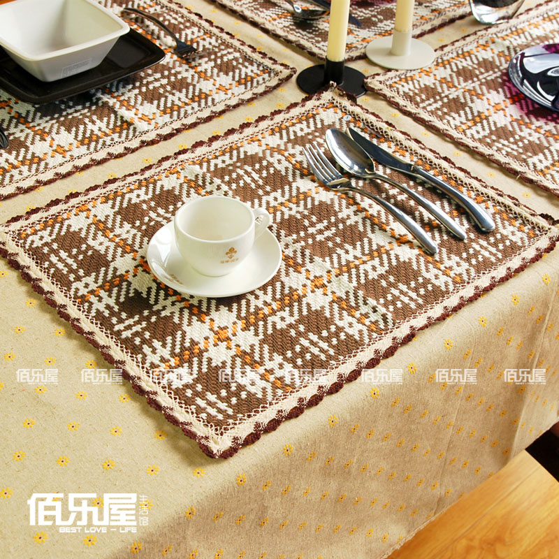 Brown Plaid Cotton Placemat Coasters Fashion Dining Table Mat Cloth