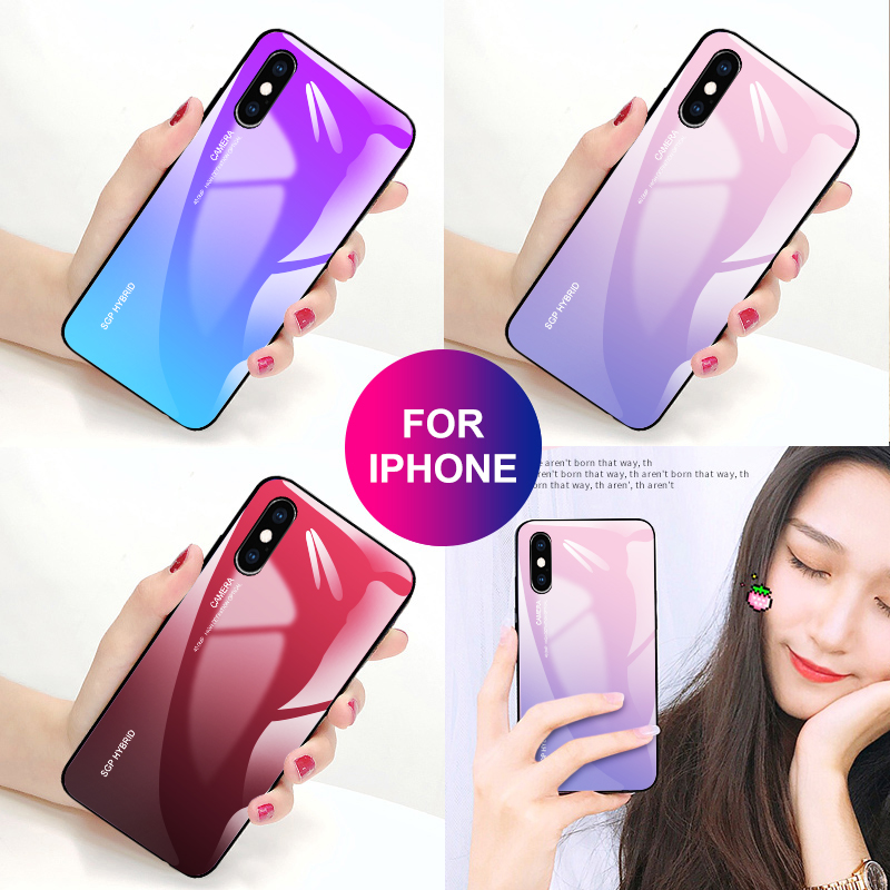 Luxury Gradient glass case For iphone X XS Max XR Coque Soft edge protective case for iphone 5 5s 6 6s 7 8 plus i phone Cover