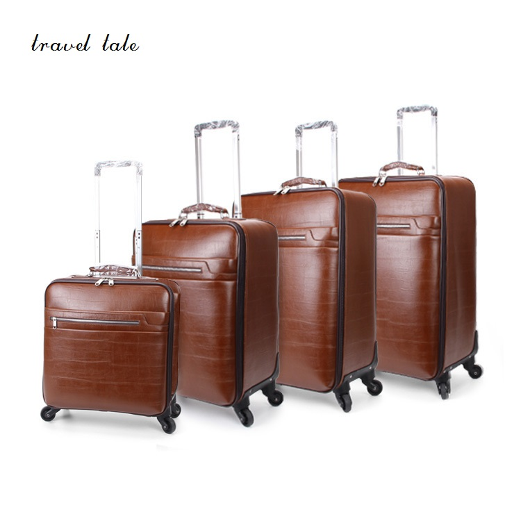 Travel tale Concise and high end business PU 16/20/22/24 inch size Rolling Luggage Spinner brand Vintage Suitcase