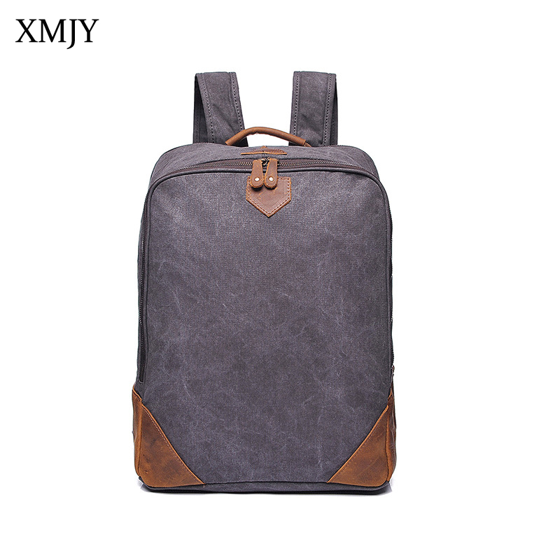 XMJY Men Vintage Canvas Backpacks Cowhide Leather School Shoulder Bag Casual Travel Bag Male Computer Bag Laptop Backpack new vintage backpack canvas men shoulder bags leisure travel school bag unisex laptop backpacks men backpack mochilas armygreen