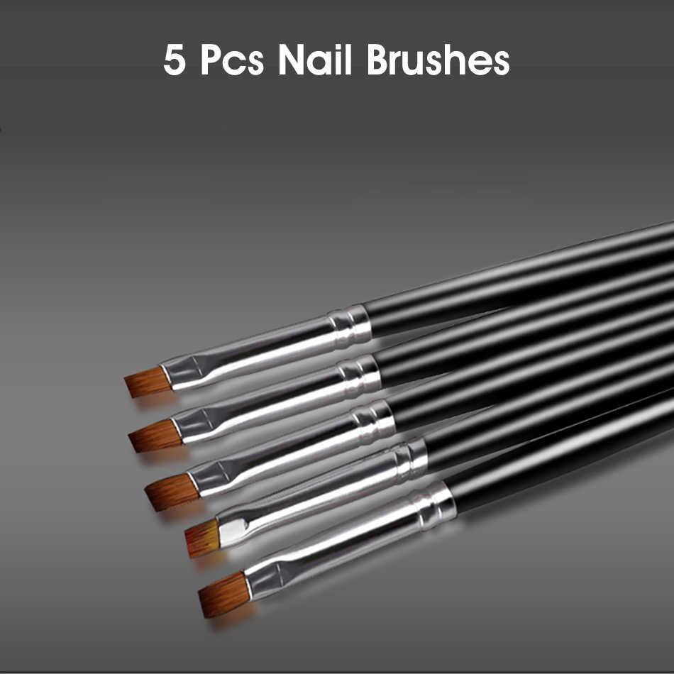 ROHWXY แปรงเล็บสำหรับเล็บอะคริลิคแปรงสำหรับเล็บปากกาสำหรับวาดภาพวาดแกะสลัก UV Gel เคลือบเงาเล็บ Art