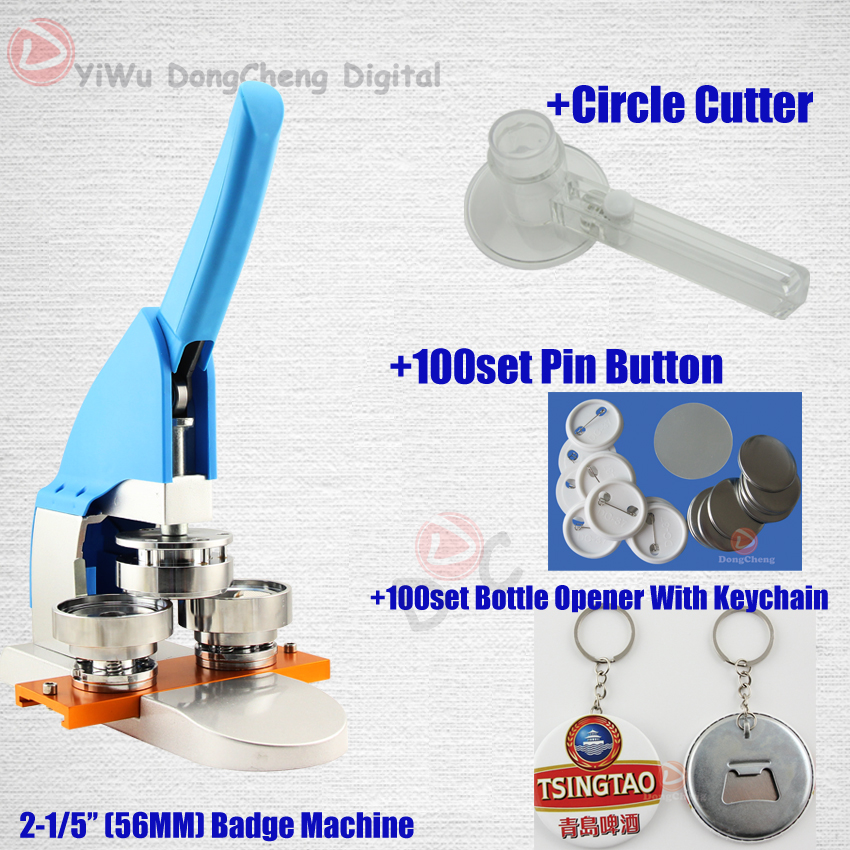New Pro 2-1/556MM bouton Making Machine + Circle Cutter+ pin buttons+bottle opener with keychain 56MMbadge Package badge machine suppliers 1 1 4 32mm badge machine with 1000set pin buttons circle cutter button making machine pack