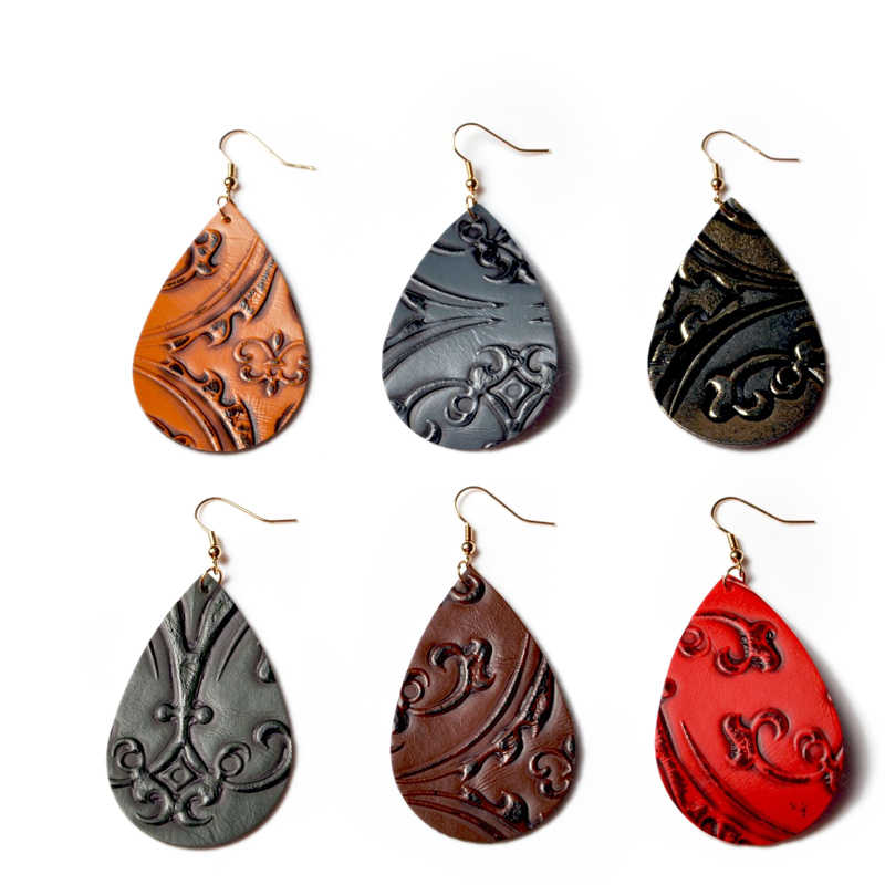 Genuine Water Drop Pu Leather Earrings 6 Colors Flower Print Design Real Leather Dangle Earring Teardrop Ear Jewelry For Women