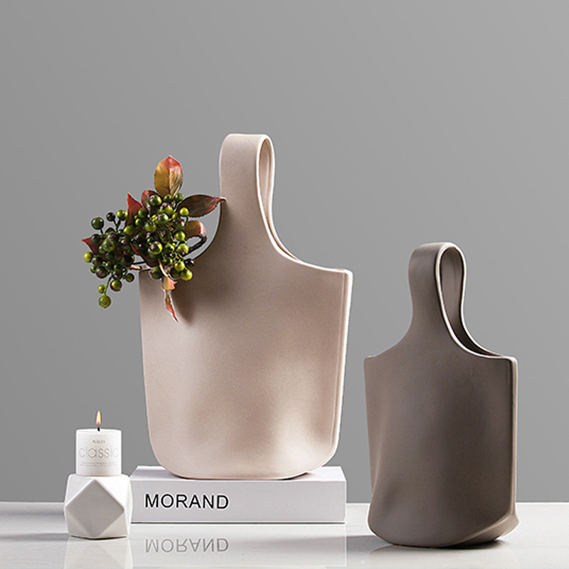Nordic Minimalist Ceramic Vase Table Decoration Ornaments Bag Flower Inserting Device Handmade Sculpture Craft Home Decor|decorative ornaments|decorative decorativedecorative home decor - AliExpress