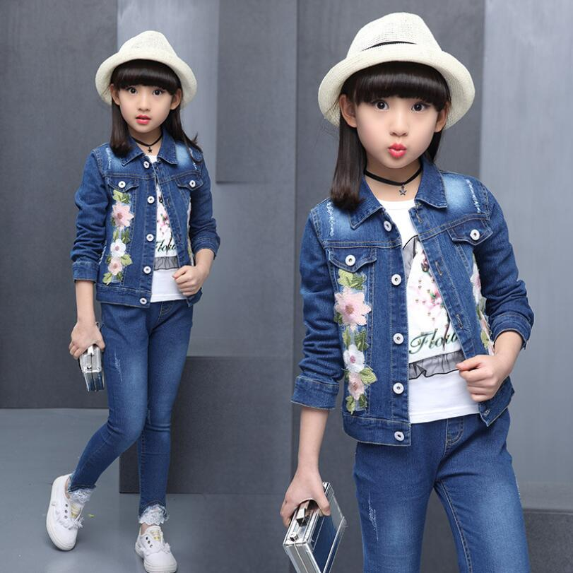 2018 Fashion Casual Autumn Baby Toddler Teen Girls Clothing Sets Flower Denim Jacket+Pants 2 Pcs Child Kids Clothes Set JW3946A