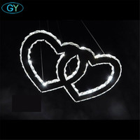 2018 New Design Led Crystal Chandelier Modern Stainless Steel Clear Crystal Heart In Heart Romantic Lustre
