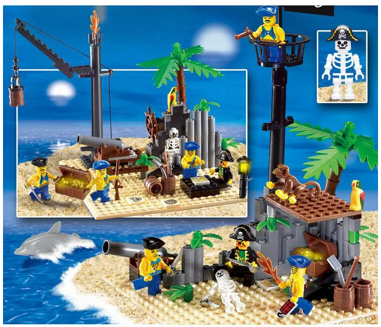 Pirate Ship Scrap Dock 178Pcs Building Blocks Educational Jigsaw DIY Construction Bricks Christmas And Birthday Gift enlighten 306 pirate ship scrap dock building blocks model toys compatible with lepin educational gift for children