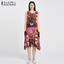 ZANZEA Women Fashion Sleeveless Loose Pockets A Line Dress Casual Crew Neck Mid-carf Vintage Print Dresses Vestidos Plus Size