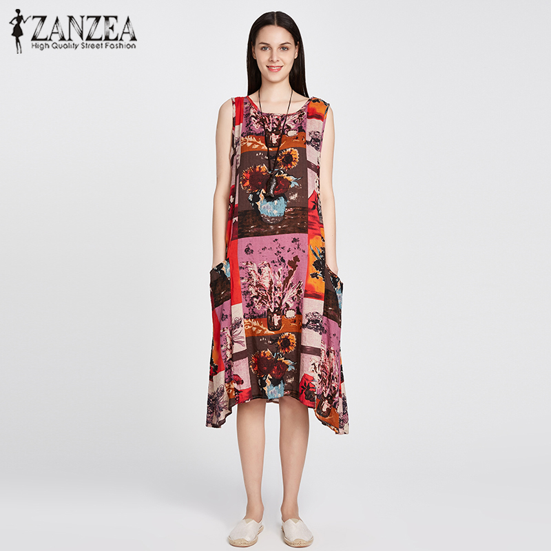 ZANZEA Women Fashion Sleeveless Loose Pockets A Line font b Dress b font Casual Crew Neck
