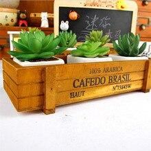 Maceta para planta de jardín, maceta decorativa Vintage, suculenta, cajas de madera, cajones, mesa rectangular, maceta para flores, dispositivo de jardinería # T5P