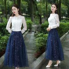 2016 Women skirt Autumn Winter Vinatge Retro High Waist Print Midi Skirts Faldas
