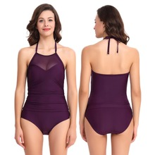 Women's Monokini Halter High Neck Sheer Mesh Ruched Swimwear Two Pieces Swimsuits Tankini Sets High Waisted Backless Bikini halter see through high waisted lace tankini