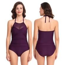 Womens Monokini Halter High Neck Sheer Mesh Ruched Swimwear Two Pieces Swimsuits Tankini Sets Waisted Backless Bikini