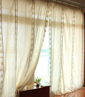 Eurpoean Style Beige FCotton Linen Rose Lace Splice Blackout Curtain Retro Cotton Linen Living Room Curtain