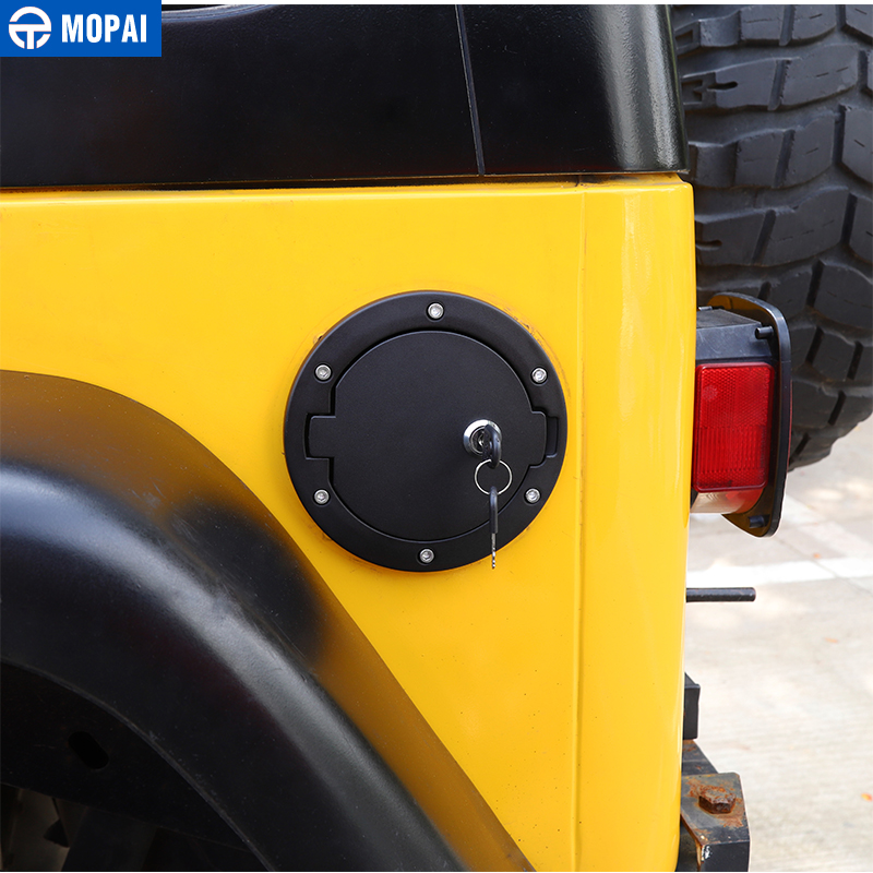 MOPAI Tank Covers for Jeep Wrangler TJ Car Oil Fuel Tank Cap With Key Lock Cover for Jeep Wrangler TJ 1997 2006 Car Accessories in Tank Covers from Automobiles Motorcycles