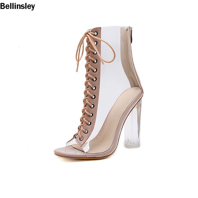 8880b55525a New Arrival Sexy PVC Transparent Gladiator Sandals Peep Toe Shoes Clear  Chunky Heels Sandals Women Lace Up Boots Sandal Shoes