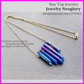 5pcs Raw Rainbow Blue Titanium Aura Quartz Spike Necklace, Rough Druzy Point Arrow Boho Crystals with Gold Brass Chain