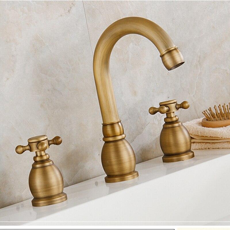 Antique Brass Bathroom Basin Faucet Widespread Vanity Sink Mixer Tap Deck Mount antique brass widespread bathroom faucet 3pcs 8 sink mixer tap dual handles